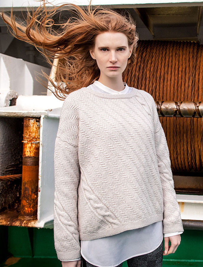 Cable and Float Stitch Boat Neck Sweater