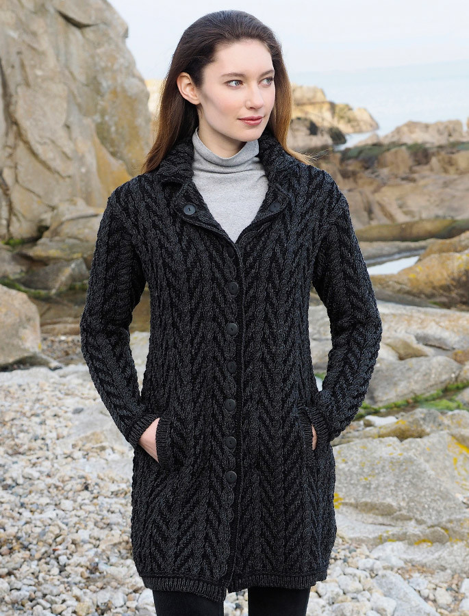 Revere Button Collar Aran Coat - Charcoal