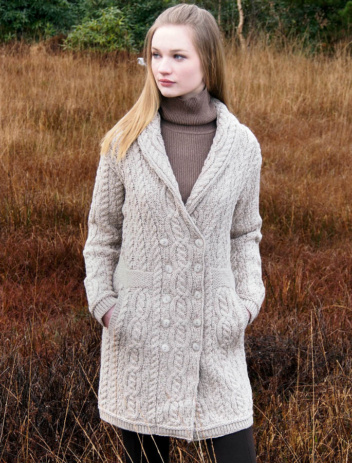 Double Breasted Aran Coat - Parsnip