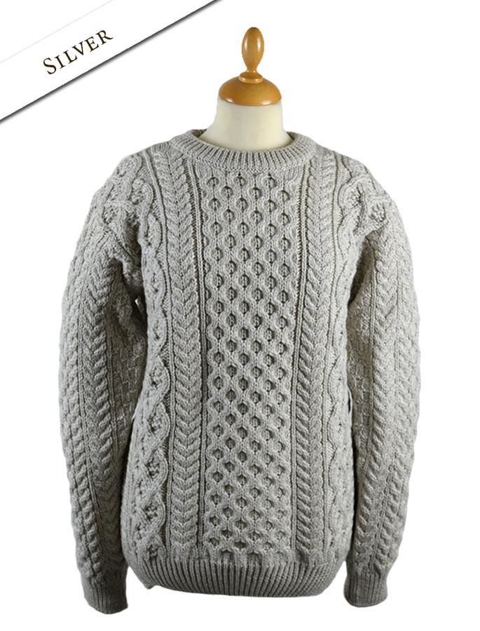 Women's Oversized Wool Cashmere Aran Sweater - Silver