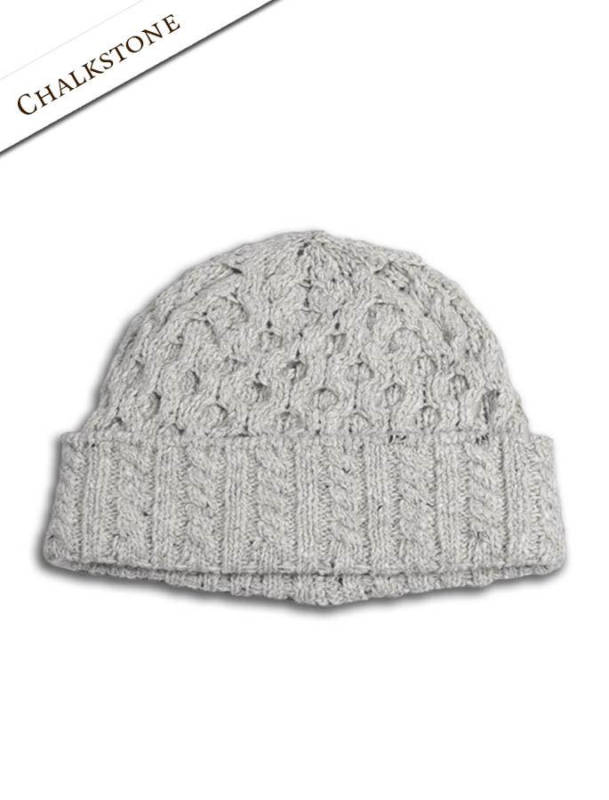 Women's Wool Cashmere Aran Honeycomb Hat - Chalkstone