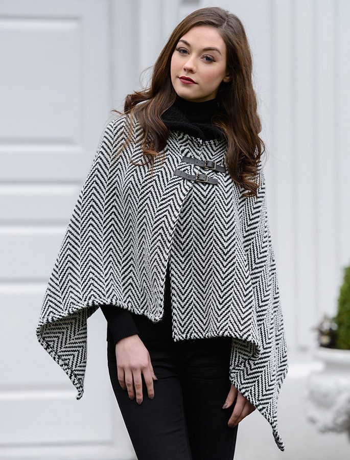 Shawl Collar Herringbone Poncho with Buckle Detail