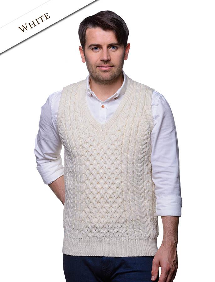 V-Neck Aran Waistcoat - Natural White
