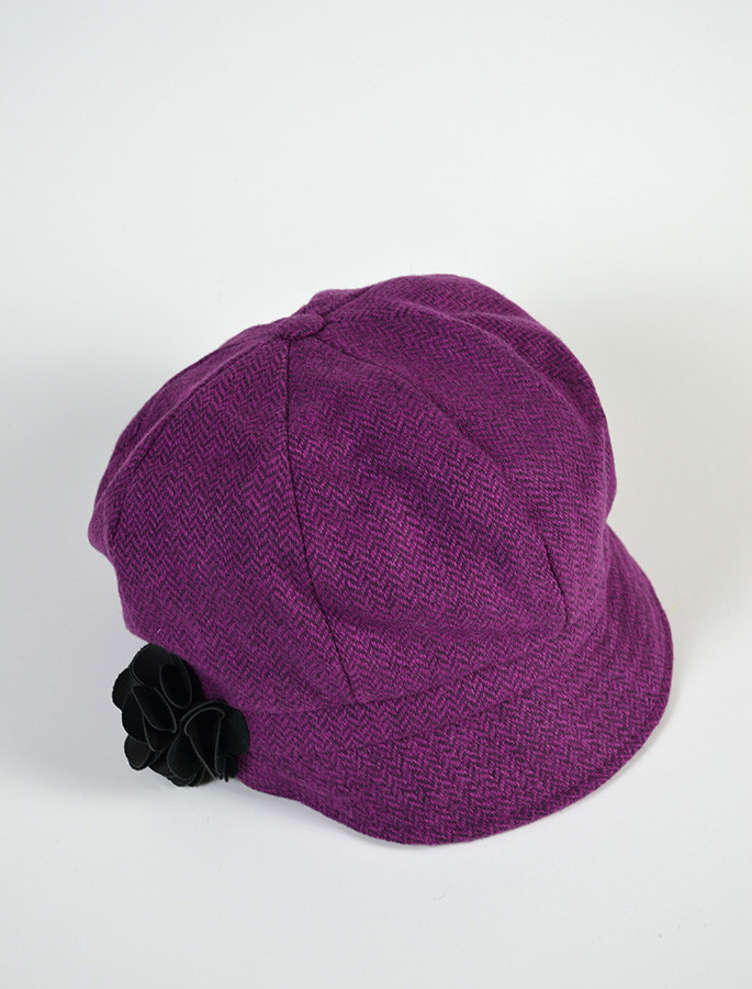 Ladies Tweed Newsboy Hat - Magenta