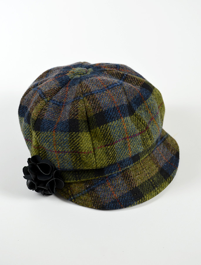 Ladies Tweed Newsboy Hat - Green Blue Plaid