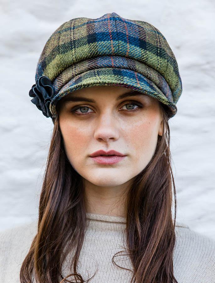 Ladies Tweed Newsboy Hat - Green Plaid