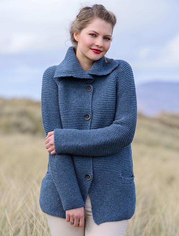 Premium Extra Fine Merino Wool Ribbed Collar Cardigan - Faded Denim