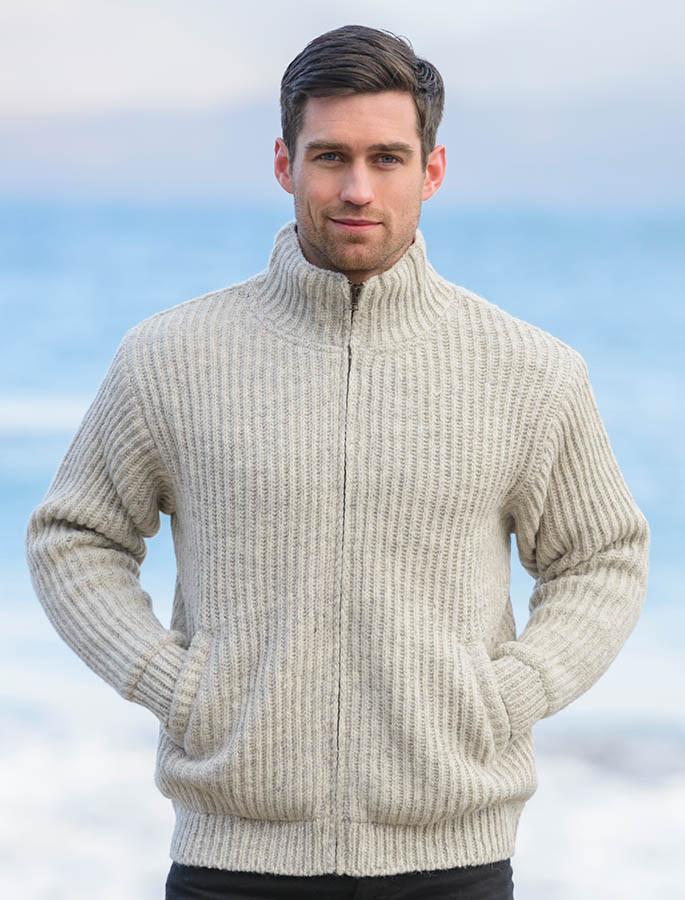 Premium Handknit Fleece Lined Ribbed Jacket - Oatmeal