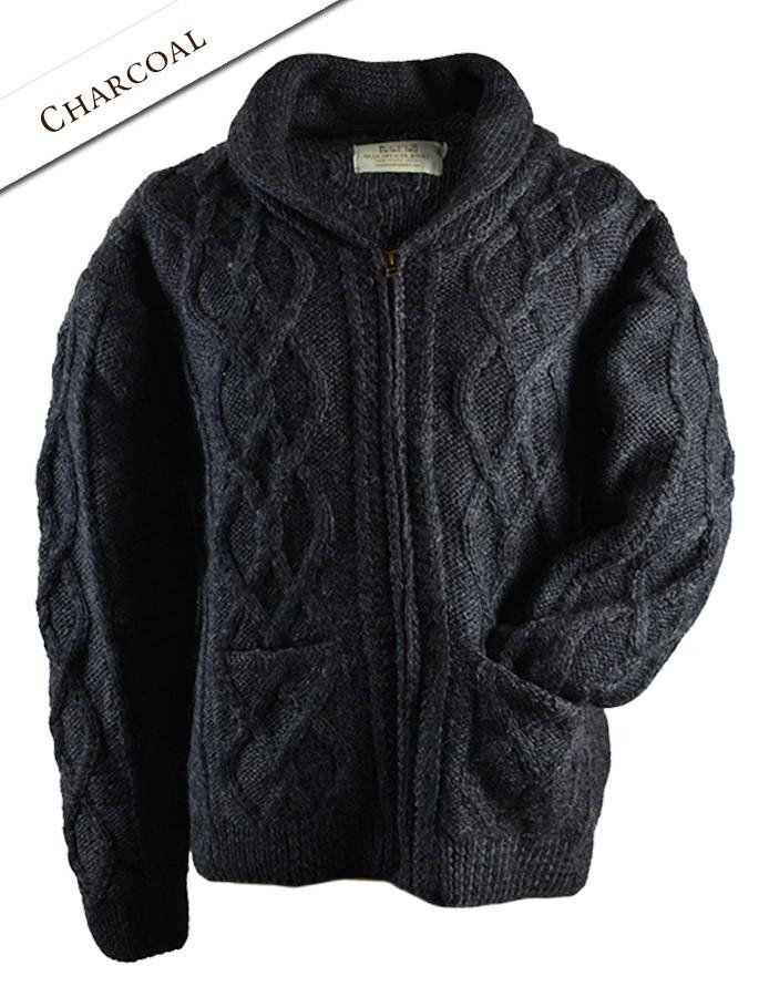 Premium Handknit Shawl Neck Zip Cardigan - Charcoal