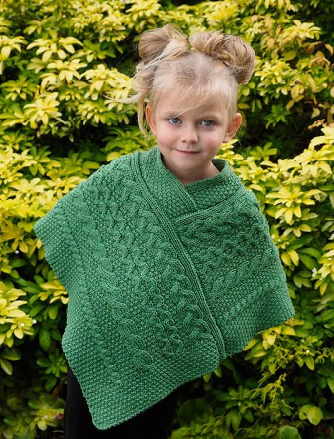 Kids Cable Knit Aran Poncho