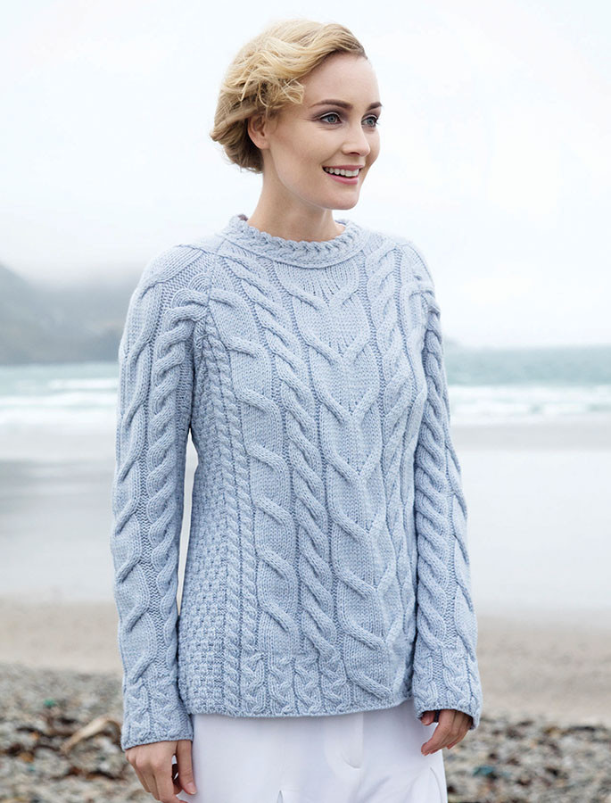 Cable Knit Aran - Blue Saili