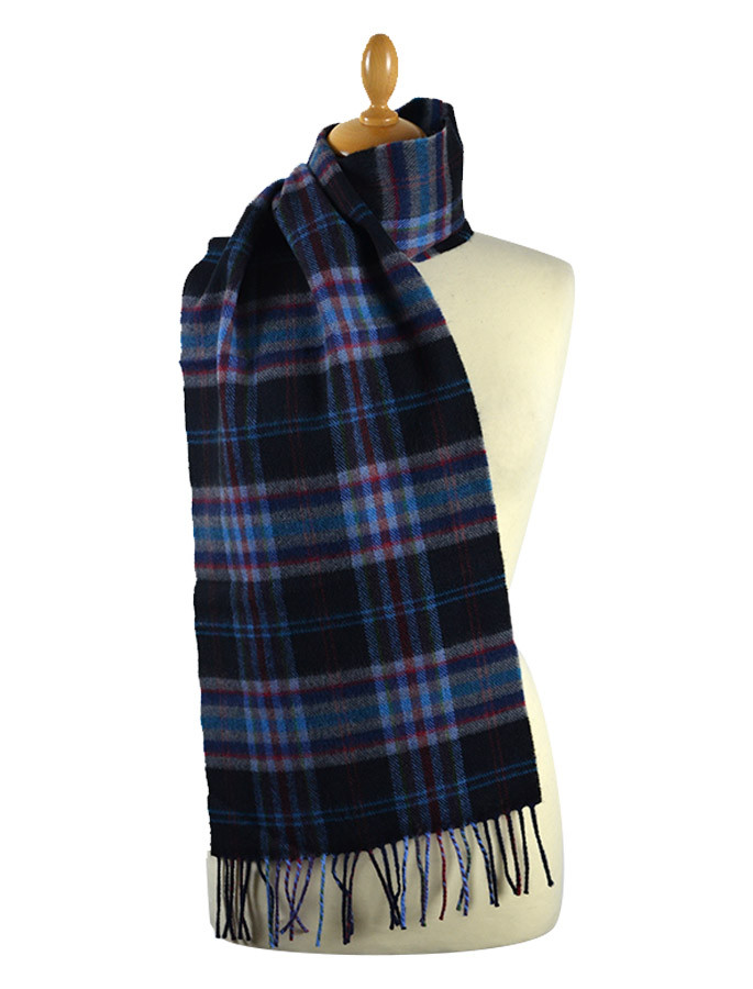 Narrow Lambswool Checked Scarf - Black Teal