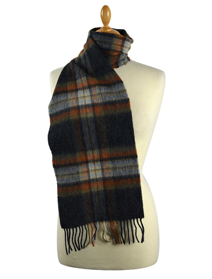 Narrow Lambswool Checked Scarf - Grey Rust