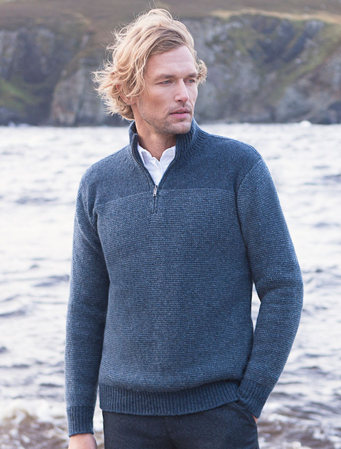 Wool Cashmere Half Zip Sweater with Stripe