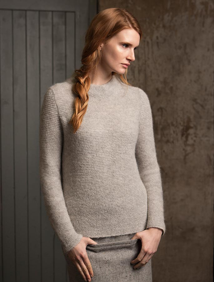 Links Stitch Mock Neck Sweater - Pearl Grey