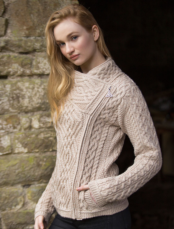 Cable Knit Jacket with Celtic Knot Side Zip - Parsnip