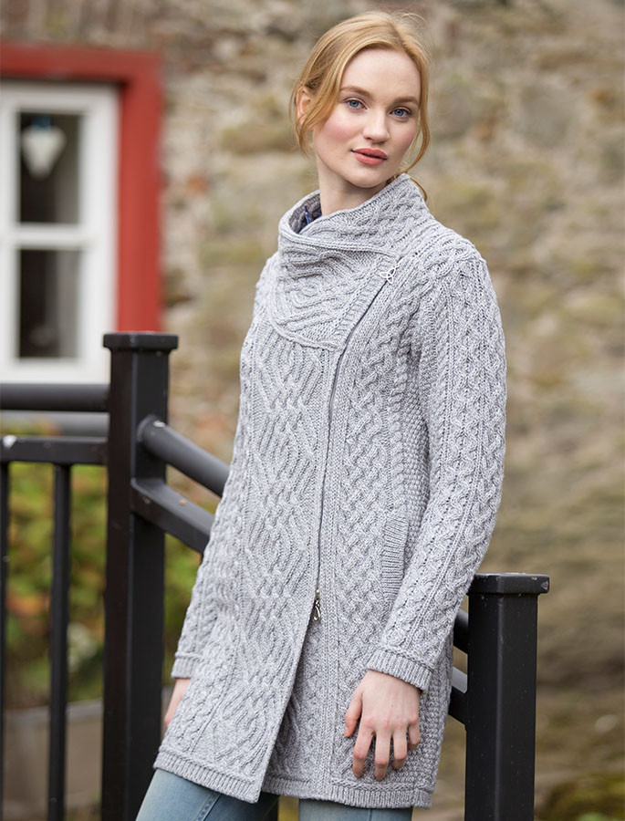 Cable Knit Coatigan with Celtic Knot Side Zip - Soft Grey