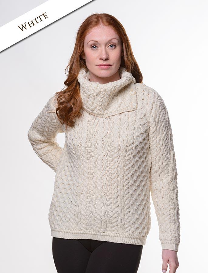 Cowl Button Neck Aran Sweater - White