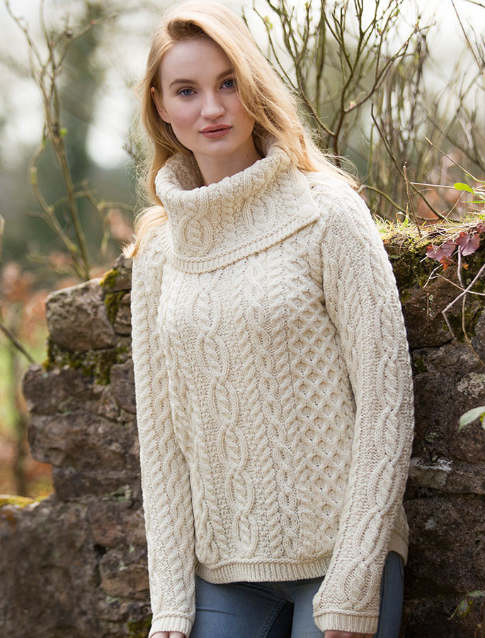 Cowl Button Neck Aran Sweater - White