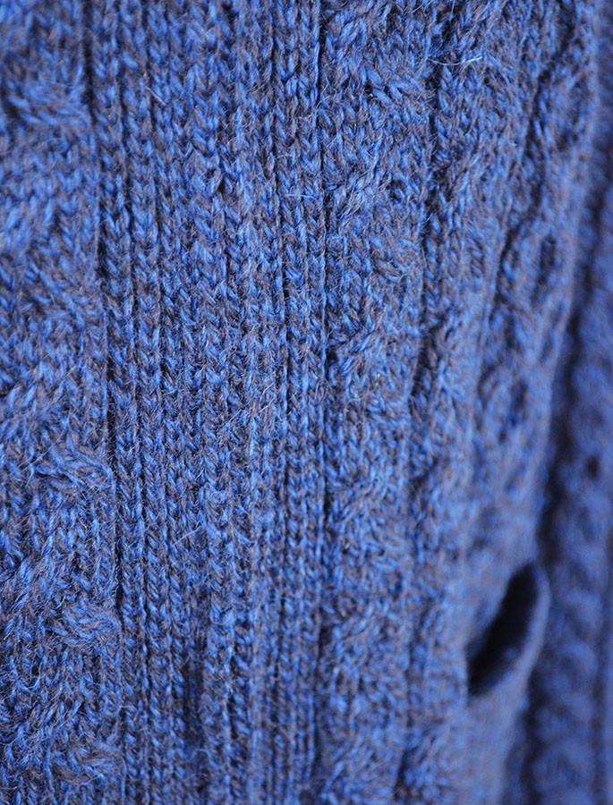 Aran Zip Cable Knit Cardigan with Collar - Detail
