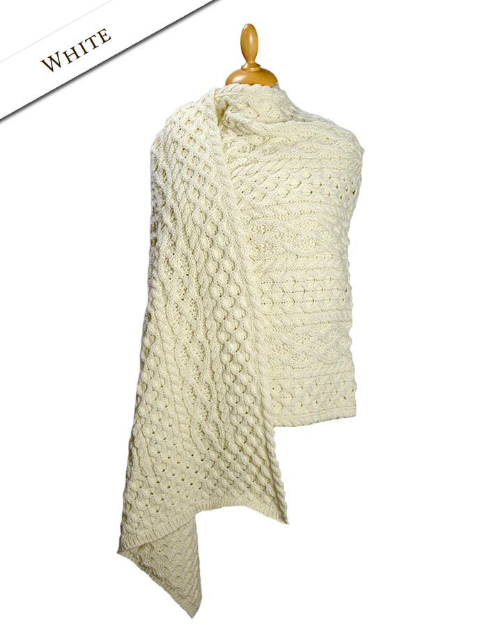 Cable Aran Wrap - White