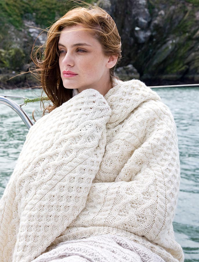Wool Cashmere Aran Throw - White