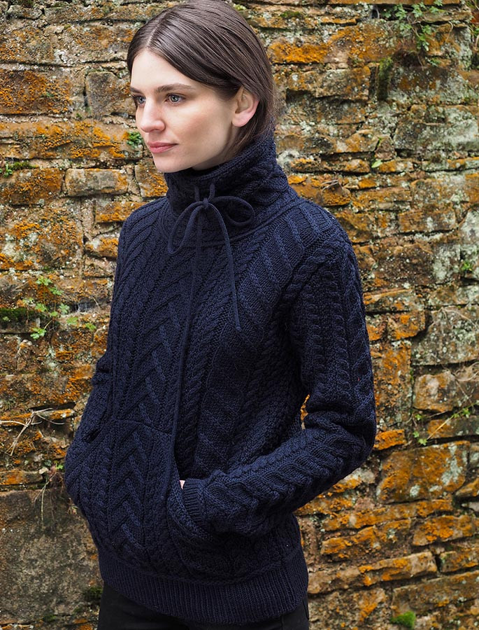 Super Soft Aran Cowl Neck Sweater - Navy