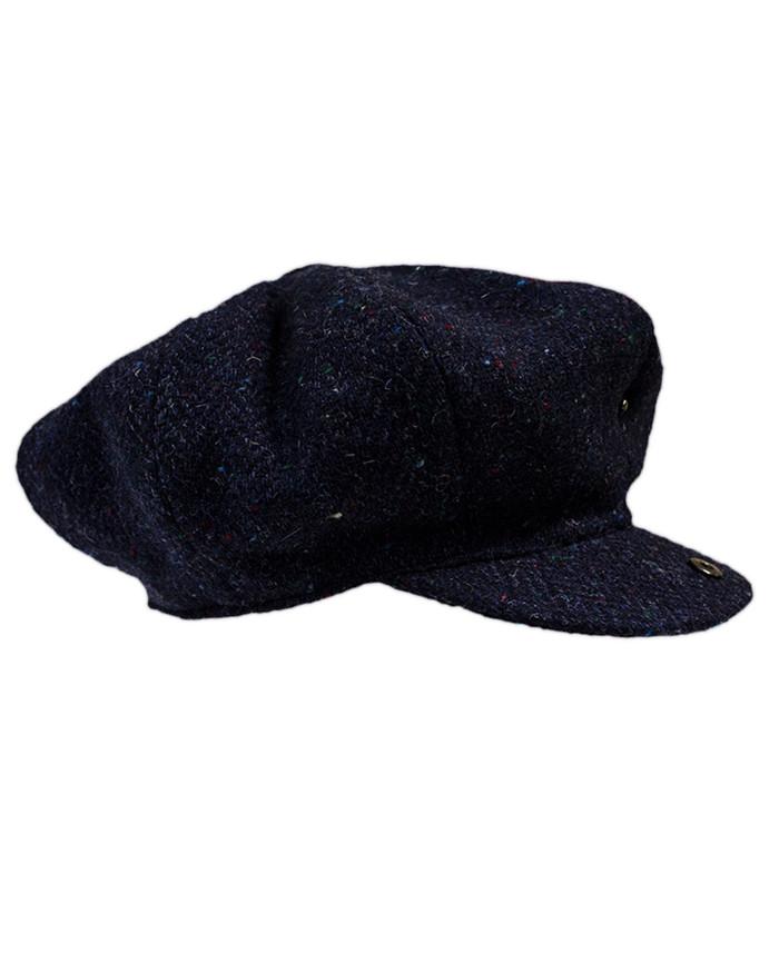 Donegal Tweed Mens Gatsby Cap - Navy
