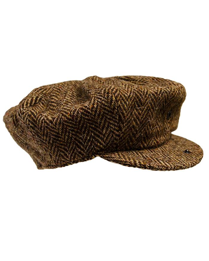 Donegal Tweed Mens Gatsby Cap - Brown
