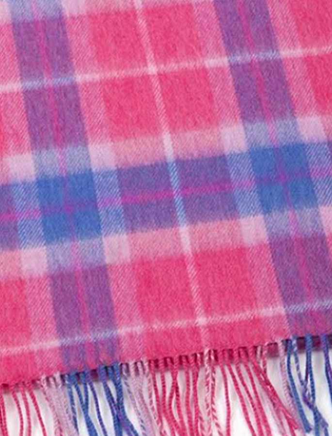 Fine Merino Plaid Scarf - Pink Blue