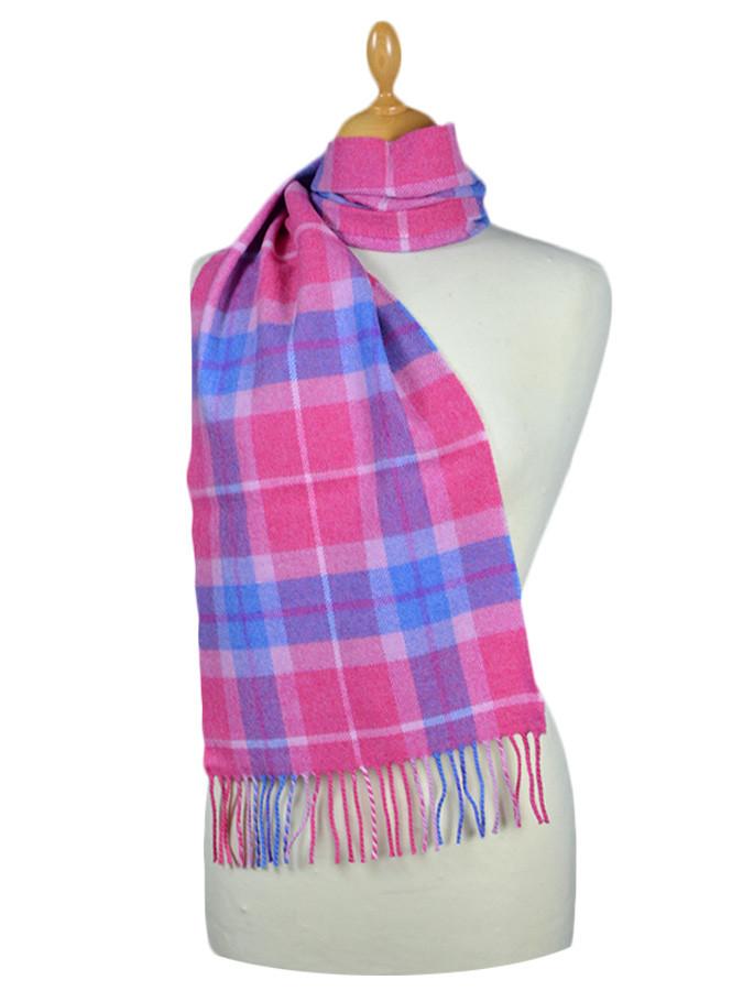 Fine Merino Plaid Scarf - Pink Blue