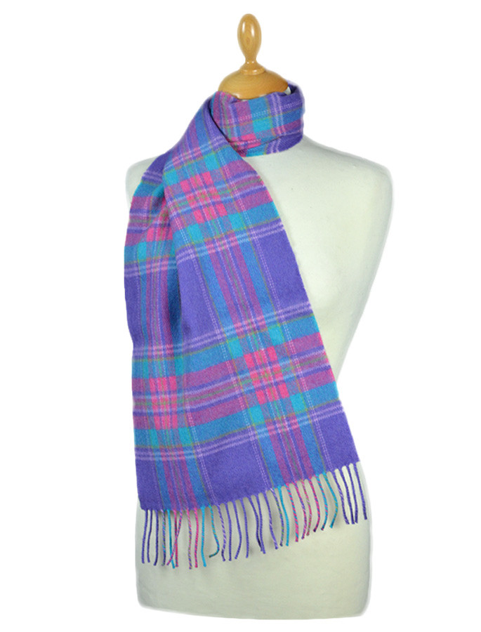 Fine Merino Plaid Scarf - Purple Blue Pink