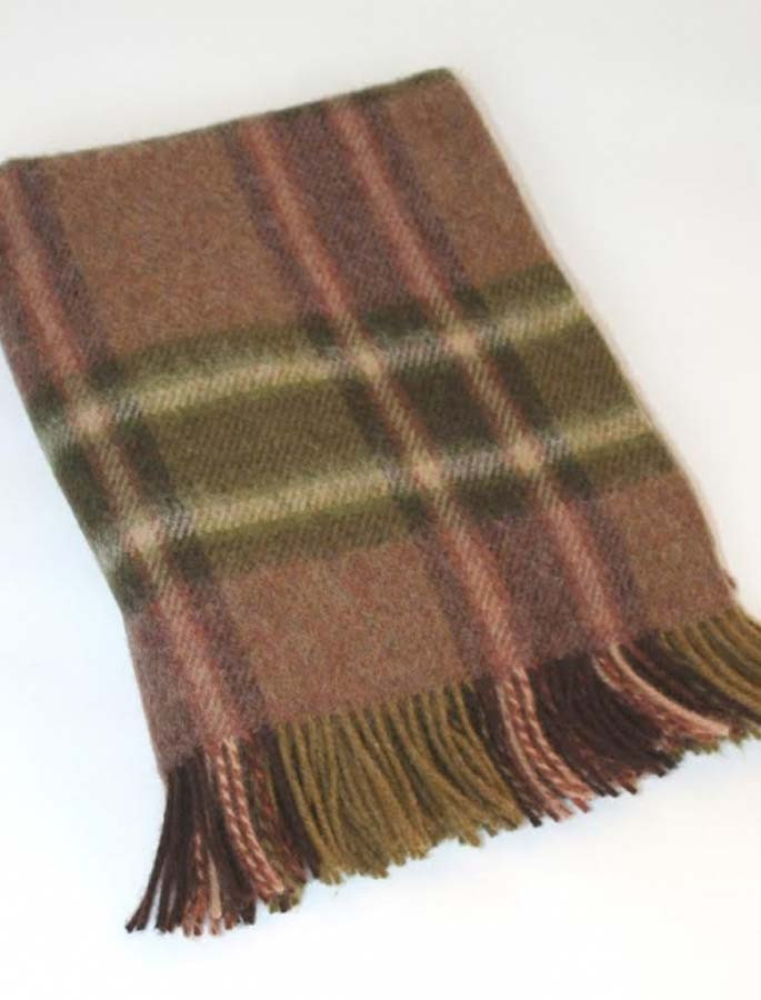 Plaid Wool Throw - Olive Rust