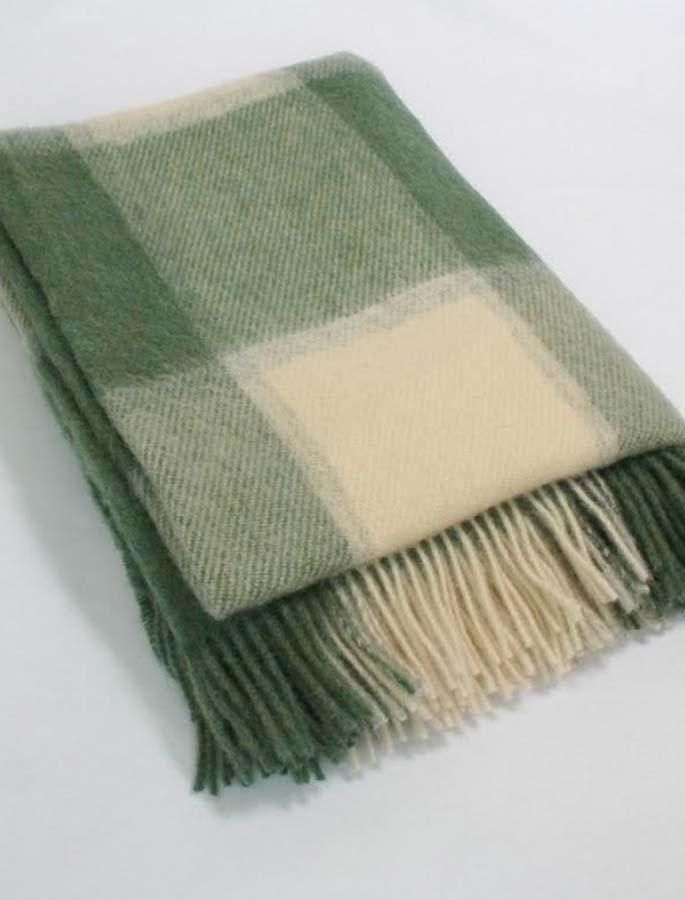 Plaid Wool Throw - Sage Beige