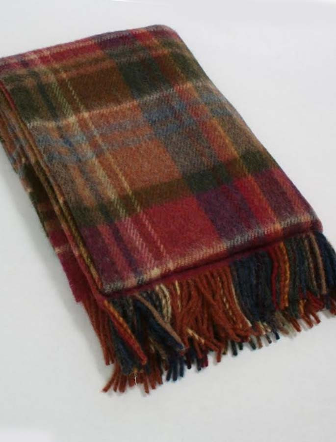 Plaid Wool Throw - Rust Cranberry Olive