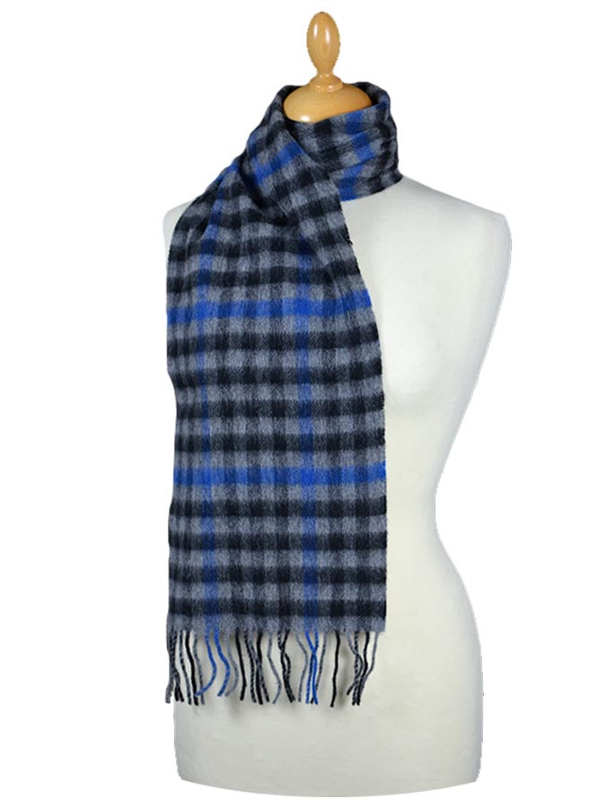 Narrow Lambswool Checked Scarf - Black Grey Blue