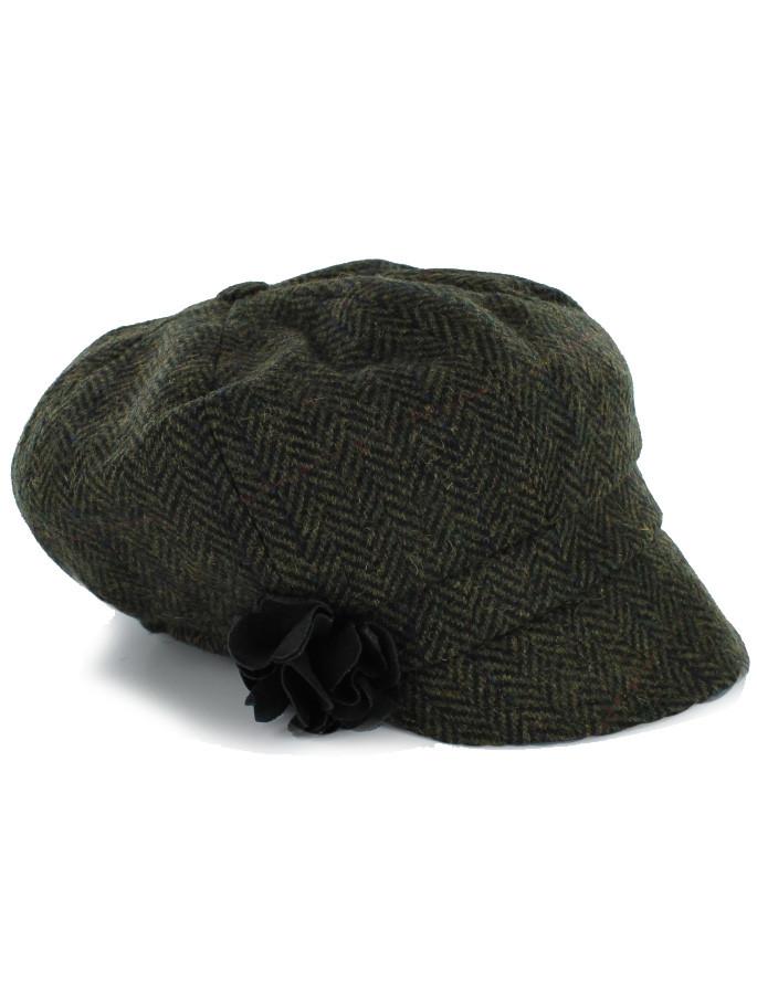 Ladies Tweed Newsboy Hat - Dark Green Plaid