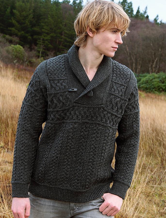 Shawl Neck Toggle Sweater - Charcoal