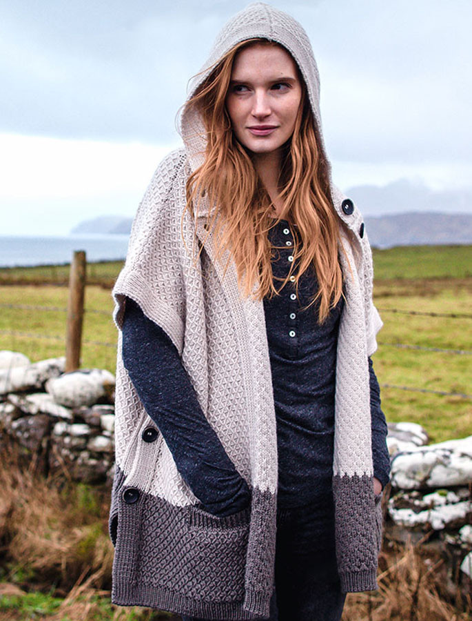 Hooded Poncho with Side Buttons