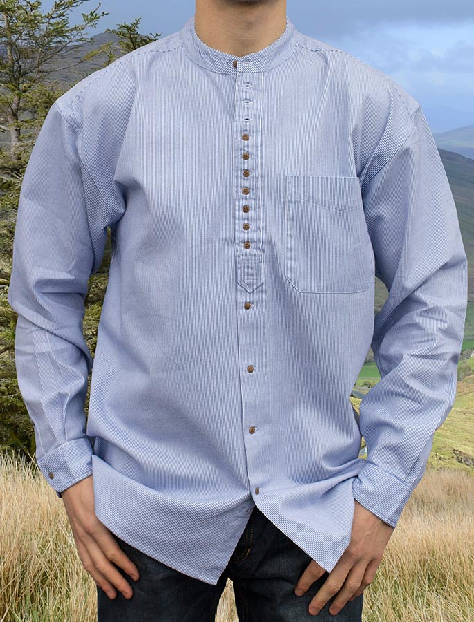Grandfather Shirt - Blue Pin Stripe