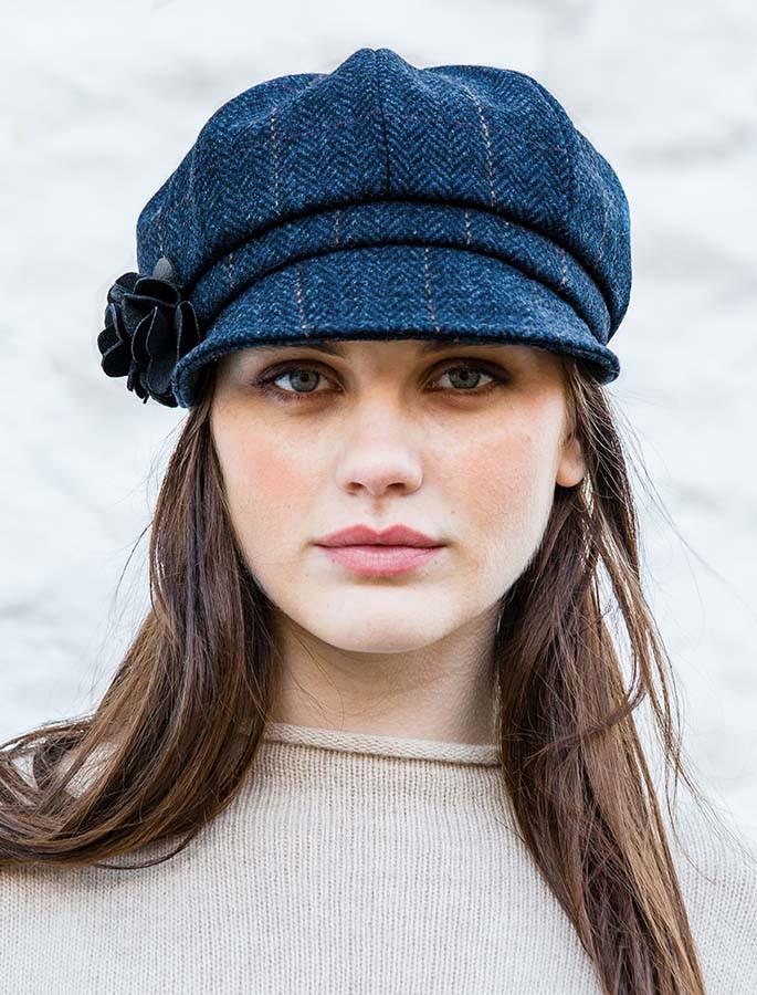Ladies Tweed Newsboy Hat - Dark Denim