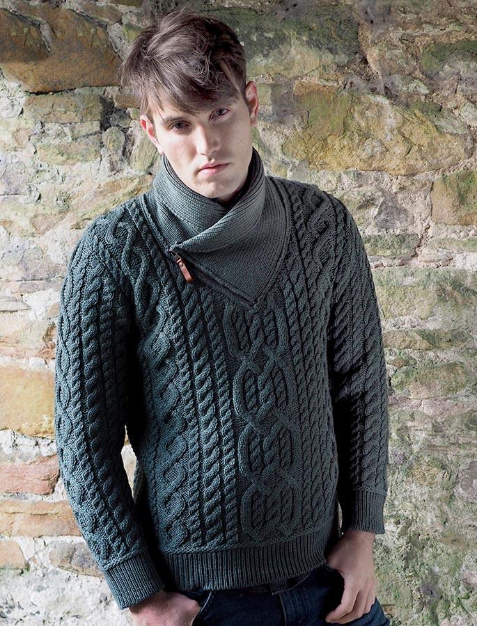 Aran Zip Shawl Neck Sweater - Tundra