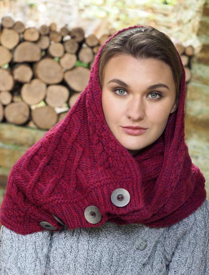 Super Soft Aran Snood with Buttons - Red