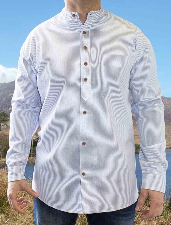 Heavyweight Grandfather Shirt - Blue Pin Stripe