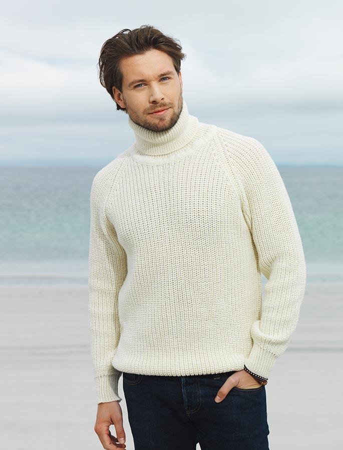 Fisherman's Merino Ribbed Turtleneck Sweater - White