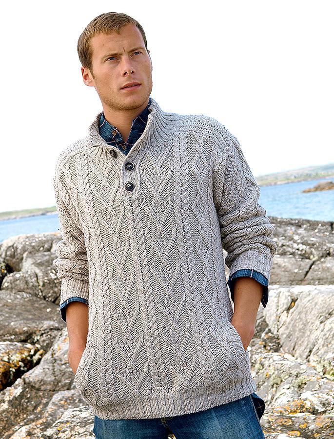 Buttoned Merino Wool Sweater - Oatmeal