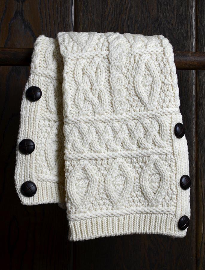 Merino Wool Aran Leg Warmers - Natural White