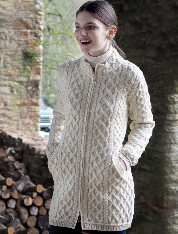 Plated Coat with Celtic Zip - White
