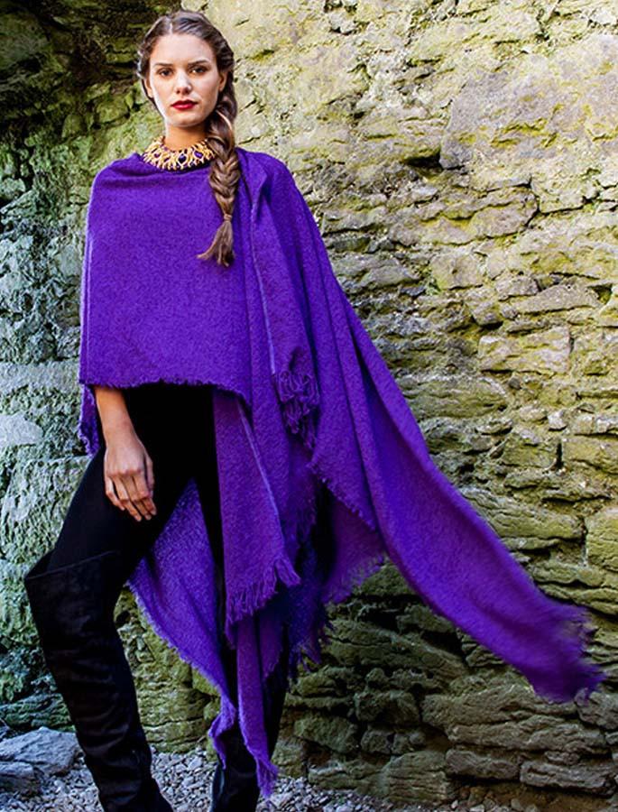 Lambswool Celtic Ruana Wrap - Purple