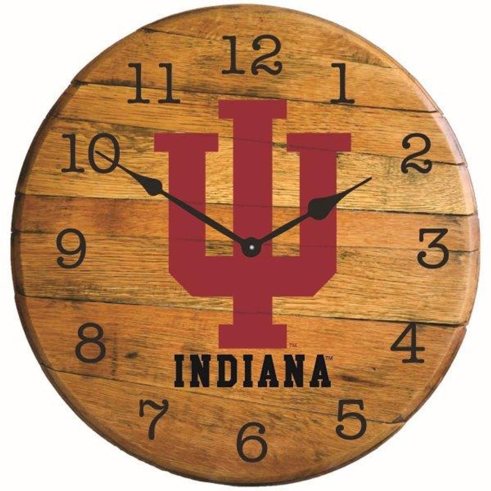 "Indiana Hoosiers 21"" Barrel Team Logo Clock   GREENSTONES  BTC-IND-01"